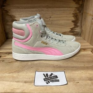 Puma high top suede pink sneakers shoes